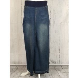 "Long maternity denim jean skirt NWT 38.5"" long "